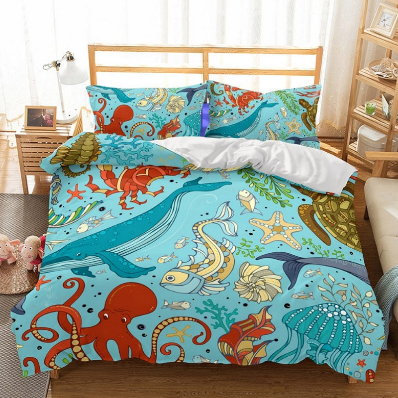 2/3-Piece Kids Cartoon Sea Creature Duvet Cover Set