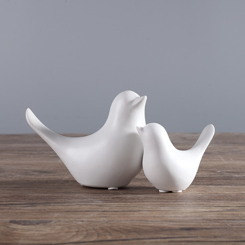 White / Black Modern Ceramic Bird Sculpture Figurines