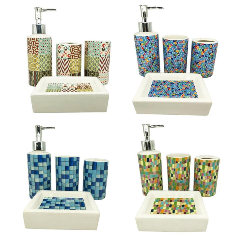 4-Piece Ceramic Multi-Color Pattern Bathroom Accessory Set