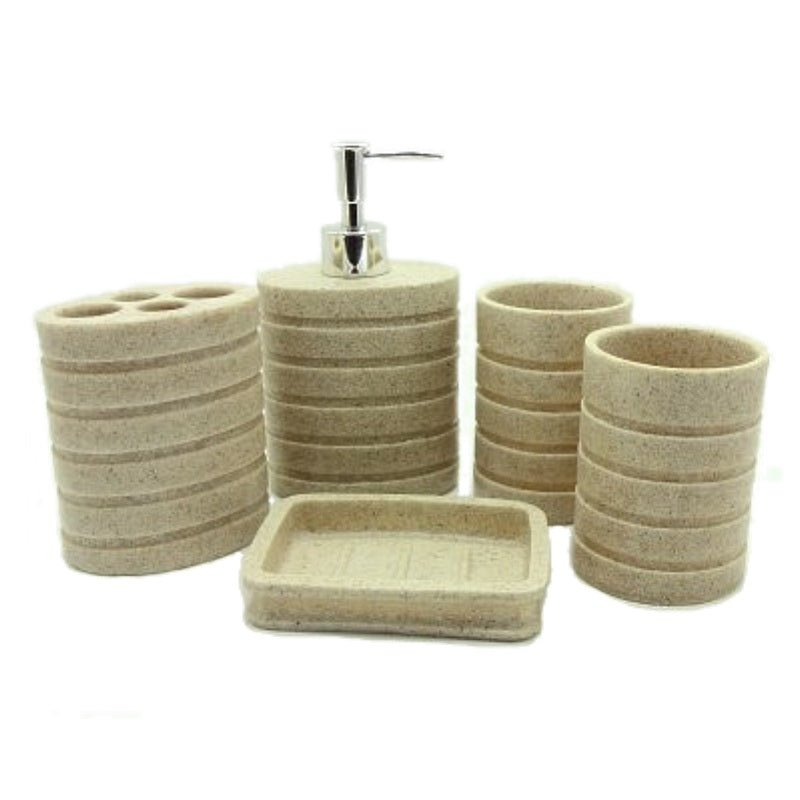 5-Piece Circular Ribbed Resin Bathroom Accessory Set