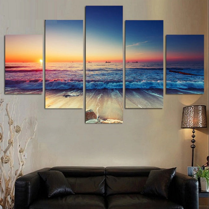 5-Piece Colorful Beach Sunset Canvas Wall Art
