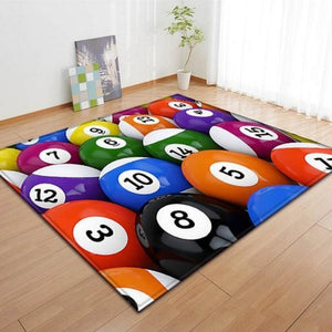 Colorful Billiard Pool Ball Print Area Rug Floor Mat