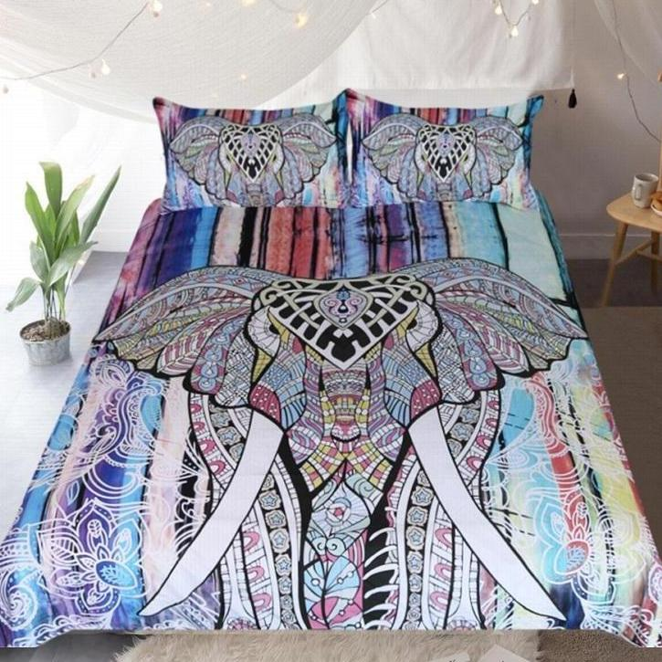 Multi-Color 3-Piece Bohemian Elephant Duvet Cover Set