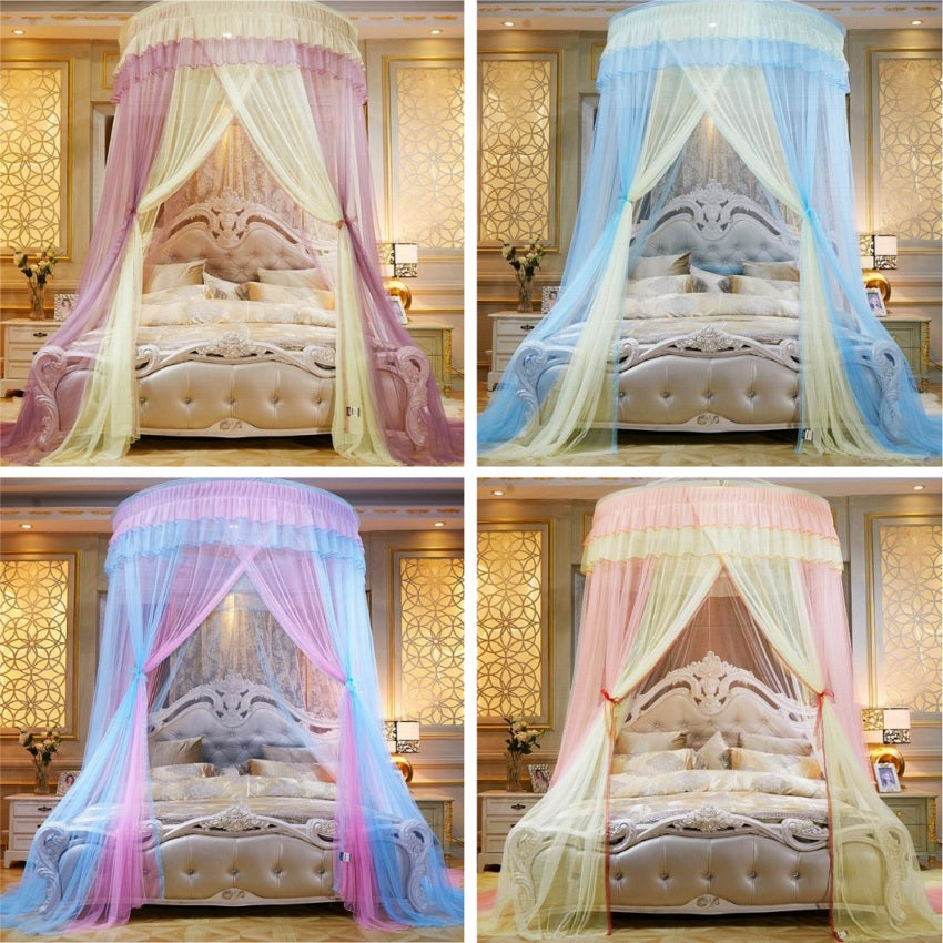"Two-Color 47"" Round Sheer Princess Bed Canopy"