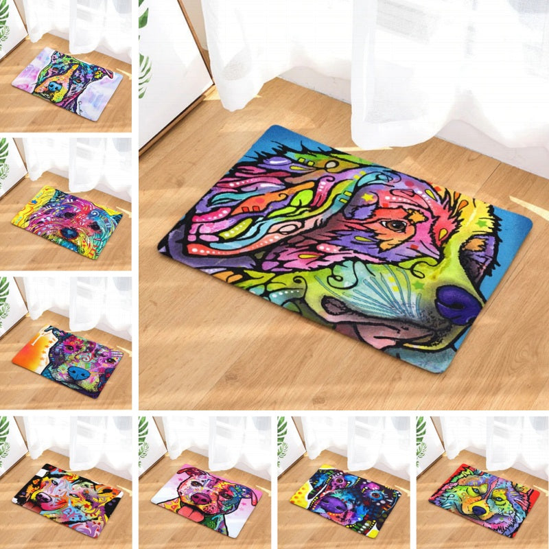 Colorful Psychedelic Dog Print Door / Floor Mat Rug