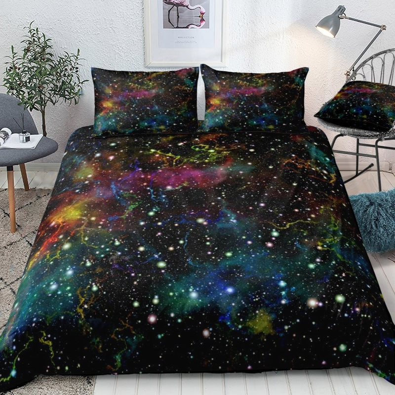2/3-Piece Colorful Space Galaxy Star Print Duvet Cover Set