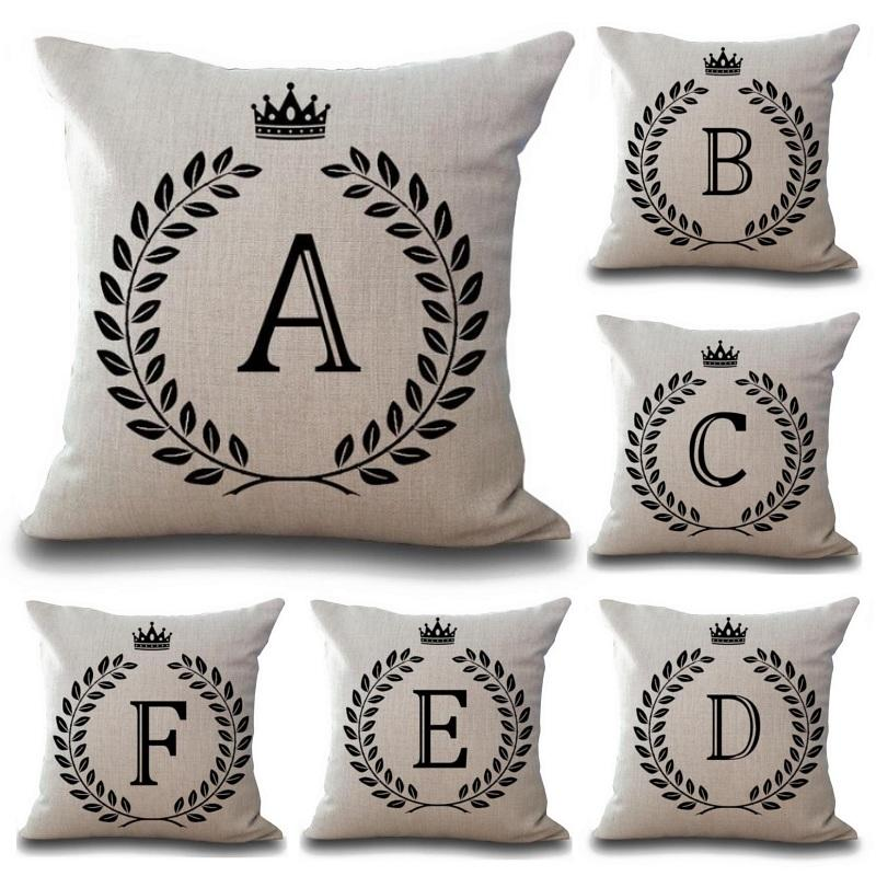 "18"" Simple Crown Crested Letter Print Throw Pillow Cover"