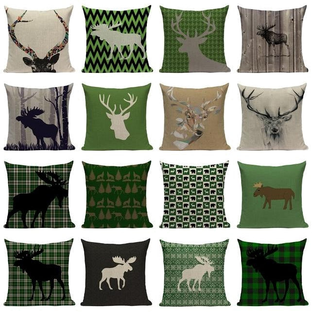 "18"" Northern Moose / Deer Print Throw Pillow Cover"