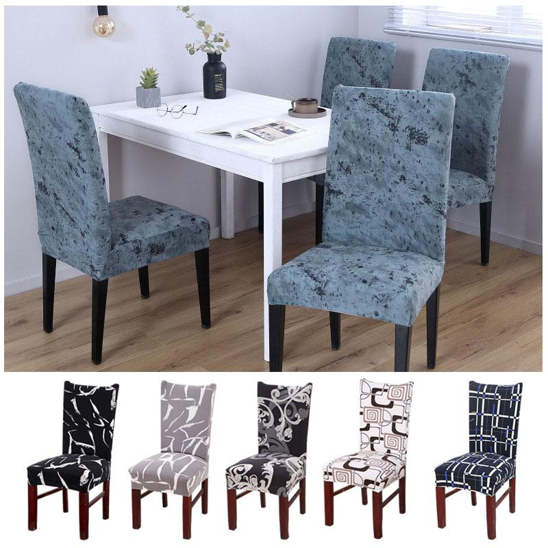 Simple Gray & White Feather Print Dining Chair Cover