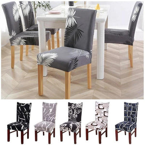 White / Gold Palm Leaf Pattern Dining Chair Cover