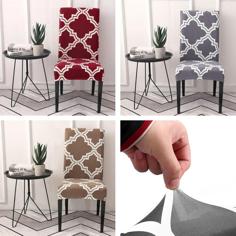 Double Lined Quarterfoil Pattern Dining Chair Cover