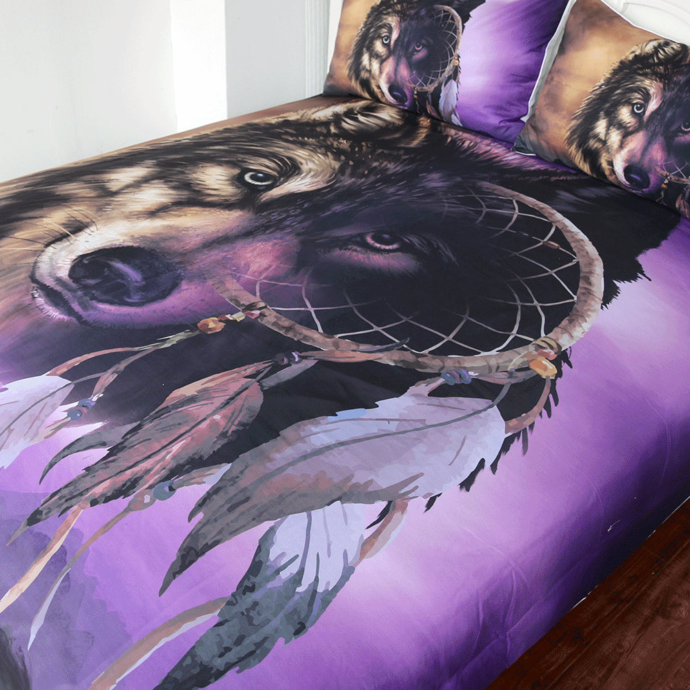 3-Piece Mystical Dreamcatcher Wolf Duvet Cover Set
