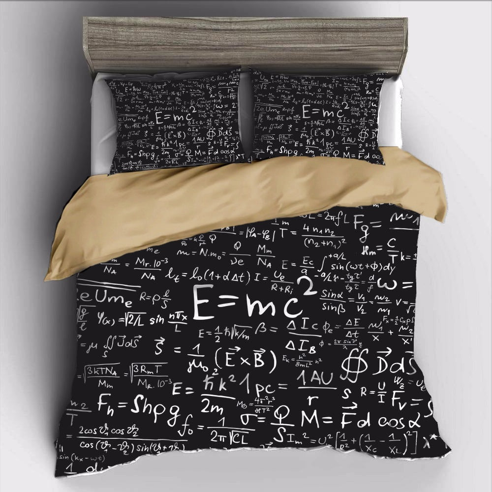 Black 2/3-Piece Einstein E=MC2 Math Duvet Cover Set