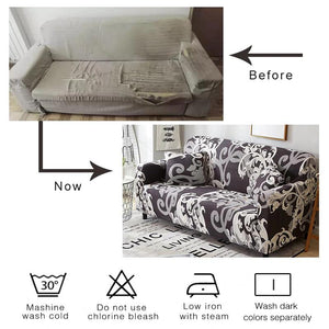 Taupe / White Abstract Floral Pattern Sofa Couch Cover