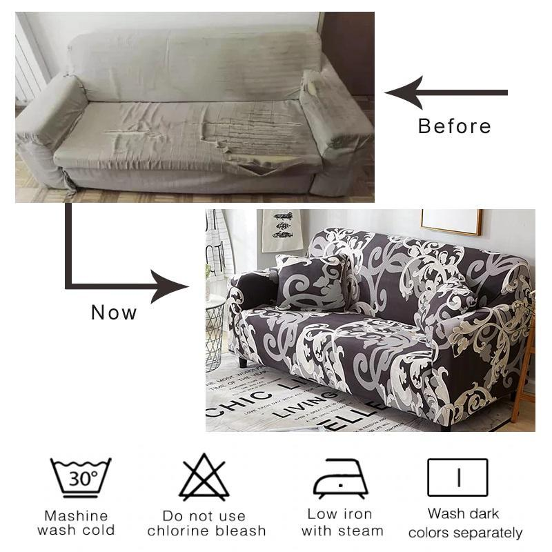 Gray, Black & White Palm Pattern Sofa Couch Cover