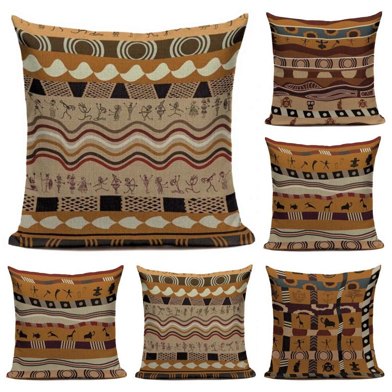 "18"" Orange / Brown Ethnic Tribal Stripe Throw Pillow Cover"