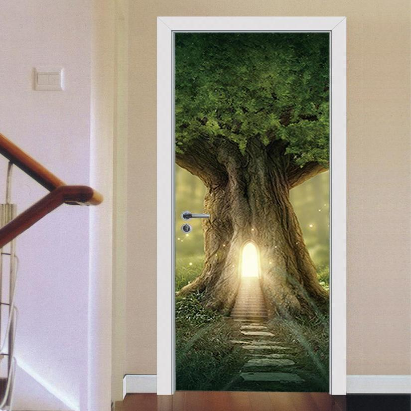 Magical Fantasy Troll Tree 3D Door Mural Sticker