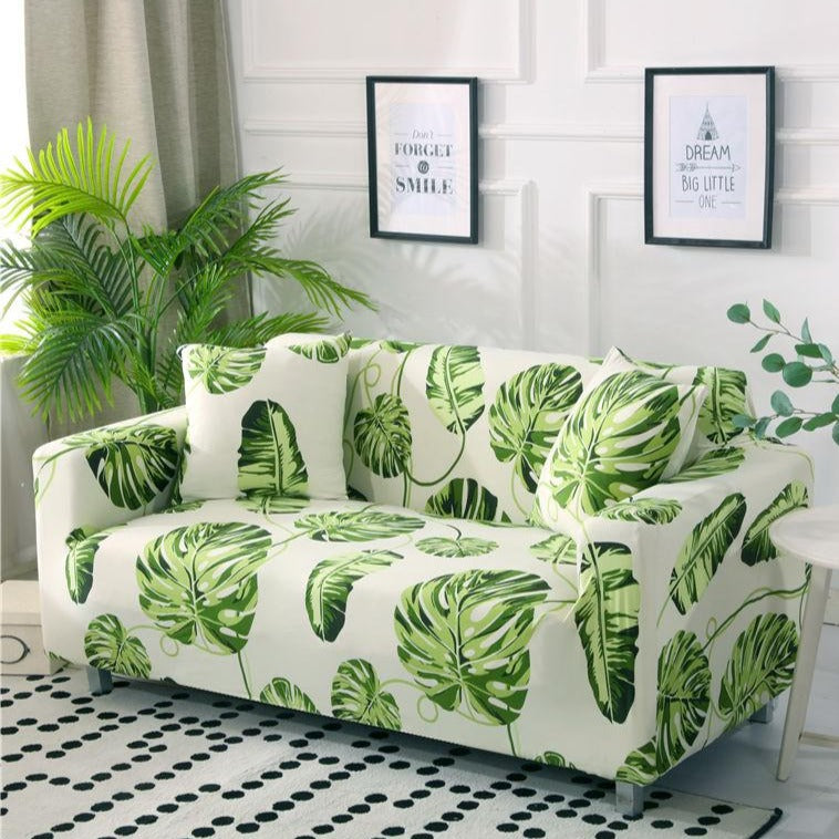 Floating Green Palm Leaf Pattern Sofa Couch Cover