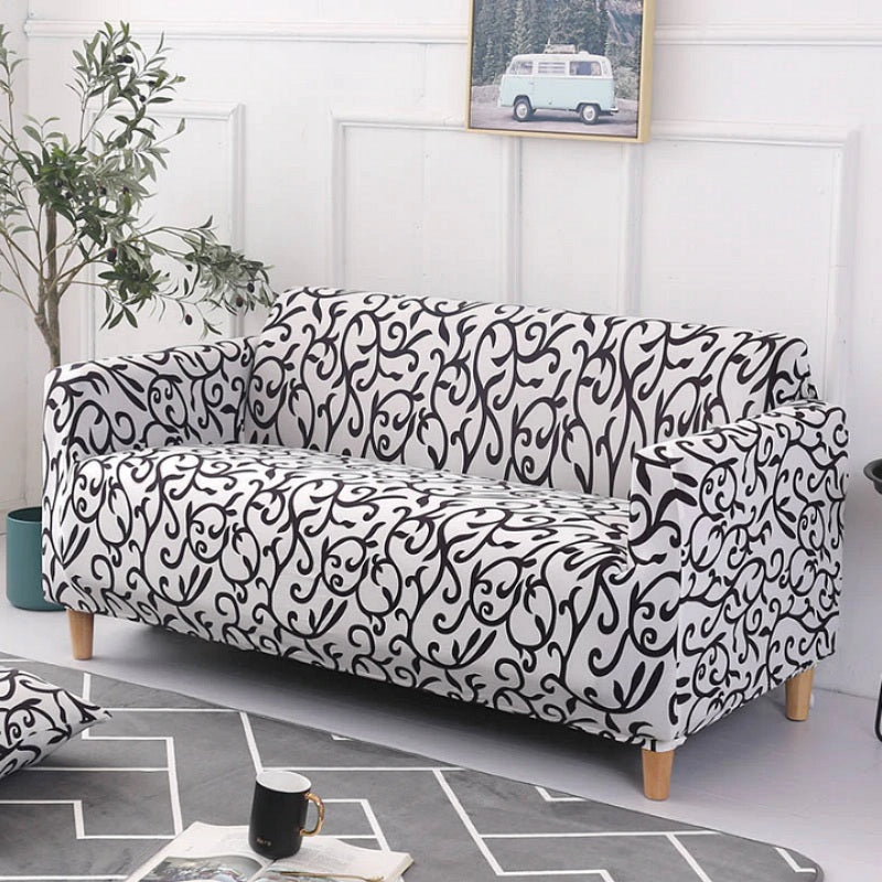 Enjoyable Black White Floral Vine Pattern Sofa Couch Cover Decorzee Gamerscity Chair Design For Home Gamerscityorg