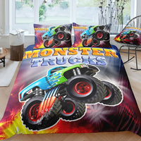 2/3-Piece Flying Monster Truck Duvet Cover Bedding Set