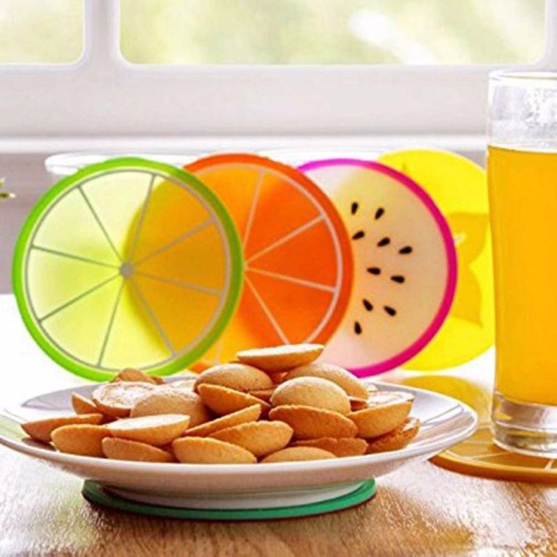 6-Piece Silicone Fruit Slice Drink Coaster Set