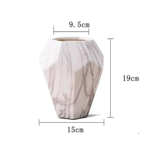 White Marble Ceramic Hexagon Geometric Flower Vase