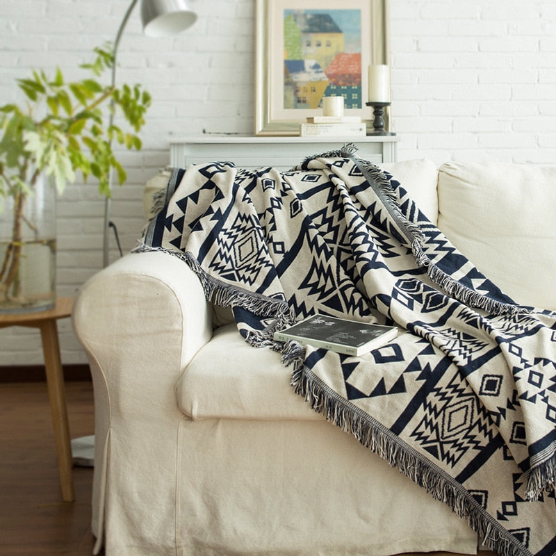 Geometric Knitted Aztec / Native Tapestry Sofa Throw Cover