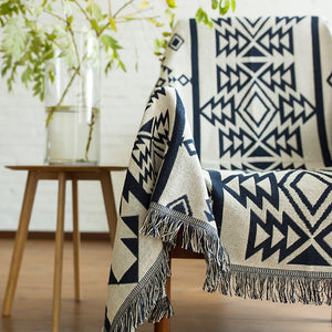 Geometric Knitted Native / Aztec Tapestry Sofa Throw Cover