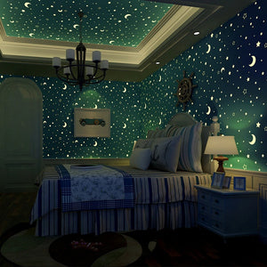 Luminous Glow-In-The-Dark Moon / Star Night Sky Wallpaper