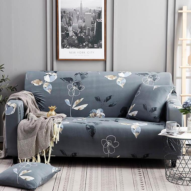 Blue Gray Abstract Floral Pattern Sofa Couch Cover