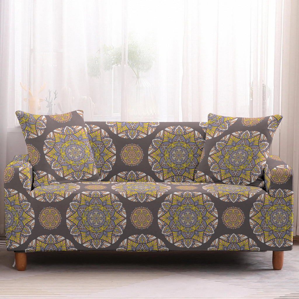 Gray / Yellow Bohemian Medallion Pattern Sofa Couch Cover
