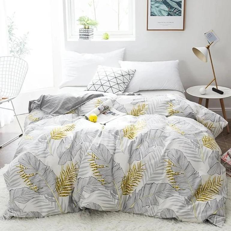 Gray / Gold 3-Piece Palm Leaf Pattern Duvet Cover Set