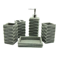 5-Piece Square Stack Design Resin Bathroom Accessory Set