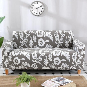 Gray / White Floral Pattern Sofa Couch Cover