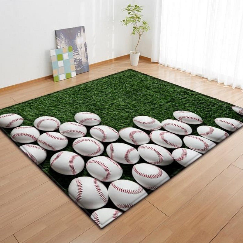 Green Stacked Baseball Print Area Rug Floor Mat