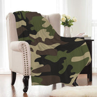 Green Military Camouflage Print Fleece Throw Blanket
