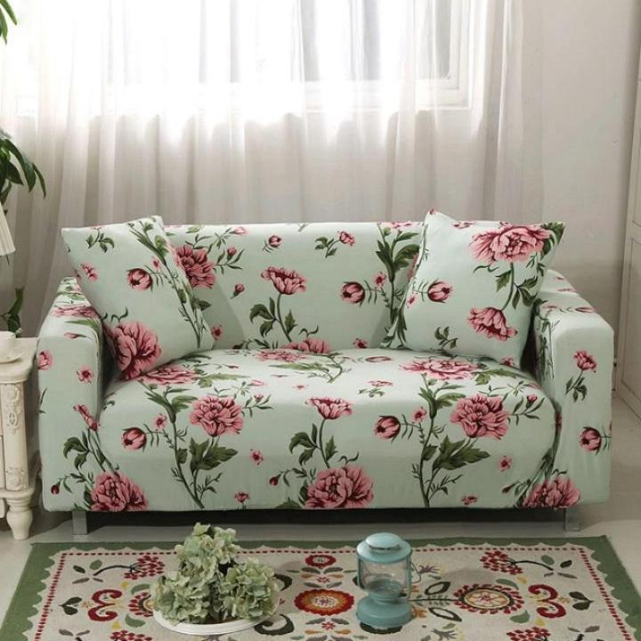 Light Green Floral Hibiscus Pattern Sofa Couch Cover