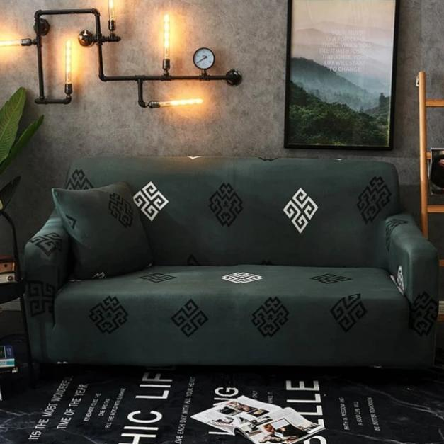 Dark Green Geometric Medallion Pattern Sofa Couch Cover