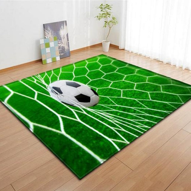 Green Scoring Soccer Ball Net Area Rug Floor Mat