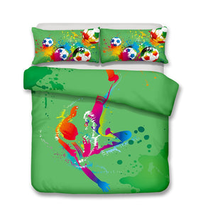 2/3-Piece Soccer Player Action Duvet Cover Bedding Set