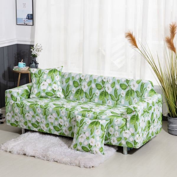Green / White Floral Pattern Sofa Couch Cover