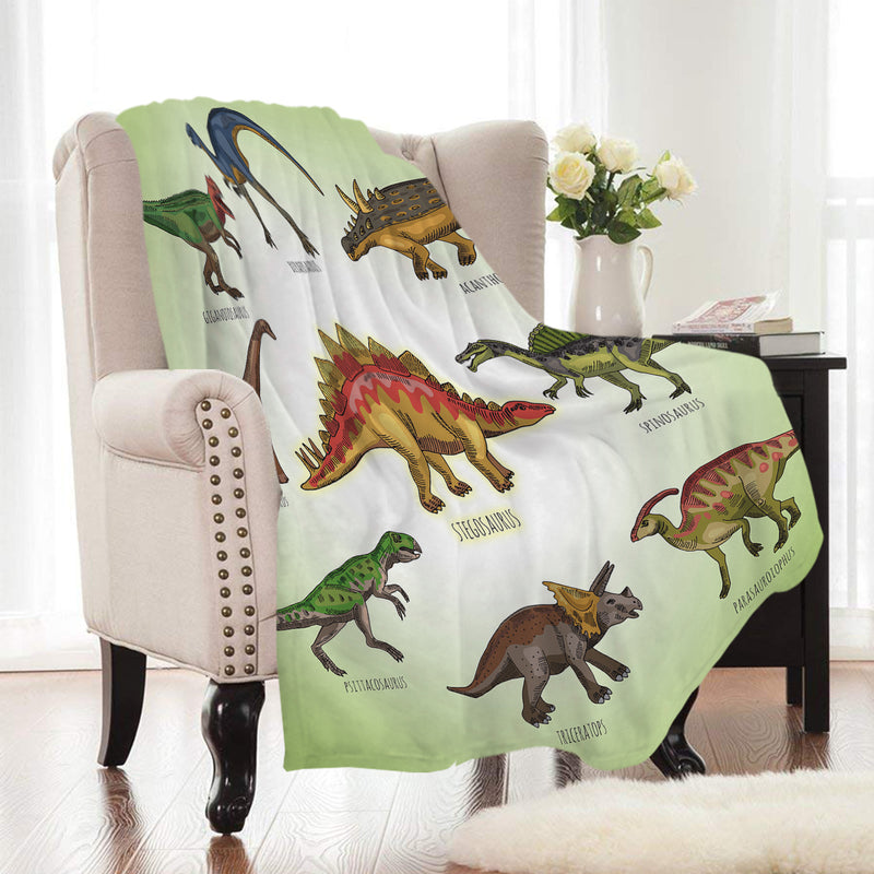Green Prehistoric Dinosaur Print Fleece Throw Blanket