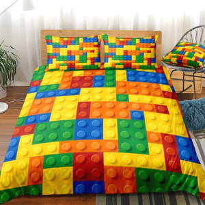 Colorful Kids 2/3-Piece Lego Print Duvet Cover Bedding Set