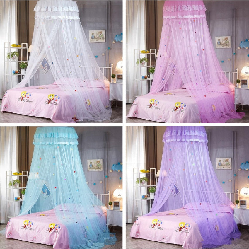 "Kids 26"" Round Sheer Hearts & Stars Bed Canopy"