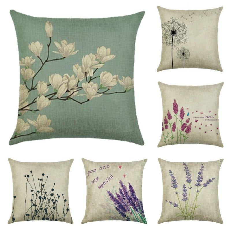 "18"" Country Floral / Lavender Print Throw Pillow Cover"