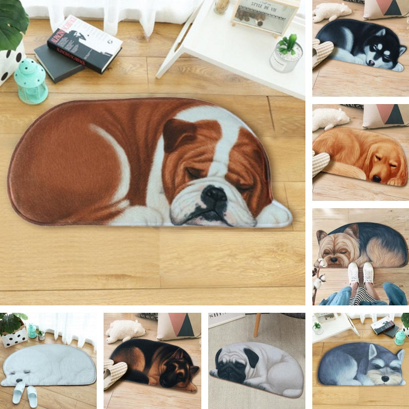 Lazy Sleeping Puppy Dog Shape Floor / Door Mat