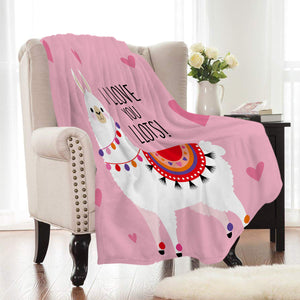 Pink I Love You Lots Llama Fleece Throw Blanket