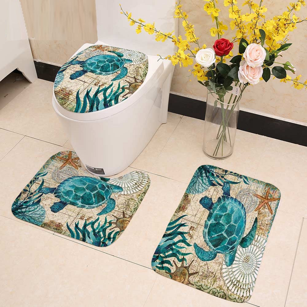 3-Piece Mediterranean Sea Life Bathroom Mat Set