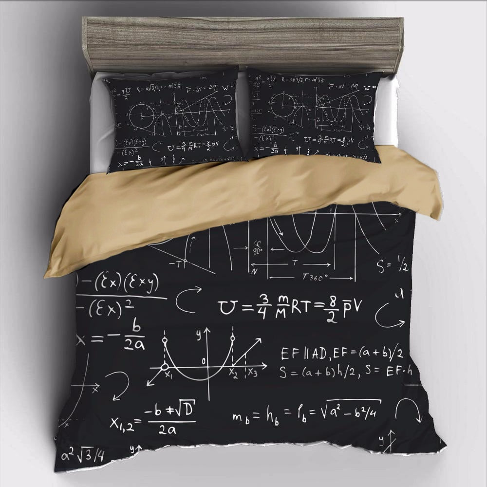 Black 2/3-Piece Mathematical Geometry Duvet Cover Set