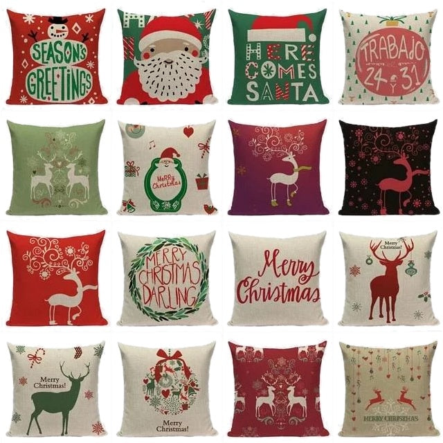 "18"" Merry Christmas Holiday Print Throw Pillow Cover"